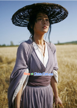 Chinese Mandarin Style Bamboo Hat and Hanfu Dresses Complete Set