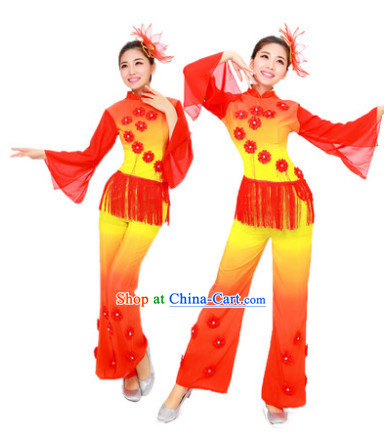 Chinese Fan Dance Costume and Headdress