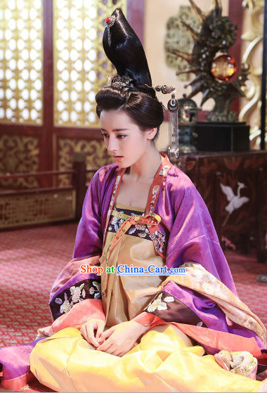 Chinese Tang Dynasty Wig Hair Accessories and Dresses Complete Set