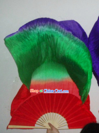 71 Inches Long Color Transition Silk Dancing Ribbon Fan