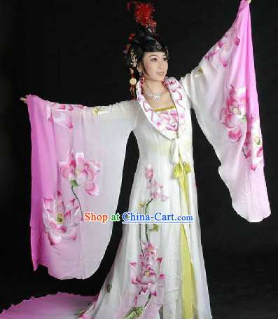 Ancient Tang Dynasty Yang Yuhuan Empress Embroidered Long Robe with Trail