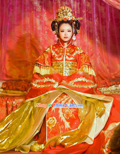 Yang Guifei Tang Dynasty Empress Phoenix Wedding Clothing and Hair Accessories for Women