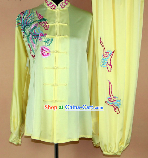 Silk Kung Fu Tai Chi Embroidered Phoenix Clothing Complete Set