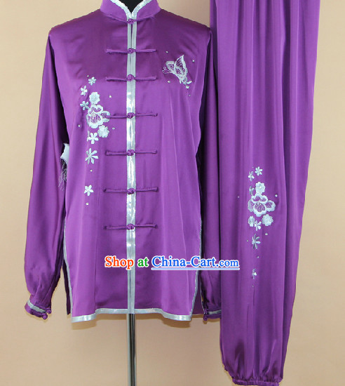 Silk Martial Arts Tai Chi Embroidered Clothing Complete Set