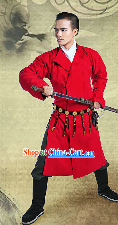 Ancient Chinese Tang Dynasty Red Gown and Belt for Men
