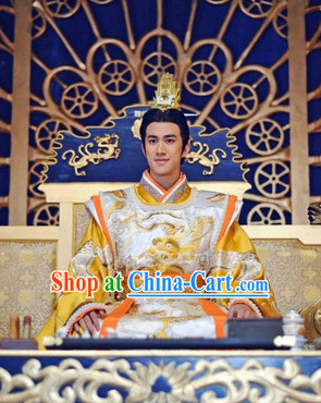 Chinese Tang Imperial Emperor Costume and Crown Complete Set