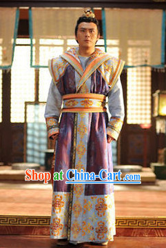 Asian Tang Dynasty Prince Clothing and Crown Complete Set