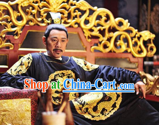 Asian Tang Dynasty Emperor Clothing and Crown Complete Set