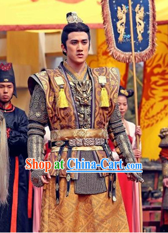 Asian Tang Dynasty Emperor Armor Costume and Crown Complete Set