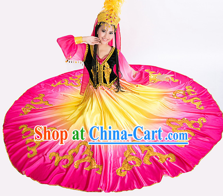 Asian China Xinjiang Dance Costume and Hat