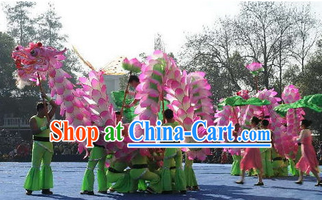 Handmade Lotus Flower Chinese New Year Dragon Dance Costume Complete Set