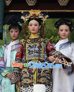Ancient Chinese Empress Costumes and Hair Jewelry Complete Set