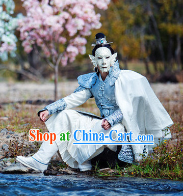 Ancient Chinese Prince Silver Armor Costumes Complete Set for Men