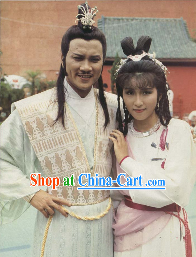 Traditional Chinese White Swordman Costume and Coronet for Men
