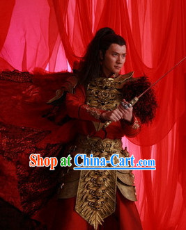 Chinese Costume Period of the Northern and Southern Dynasties Lanling Emperor Armor Costume and Cape Complete Set for Men