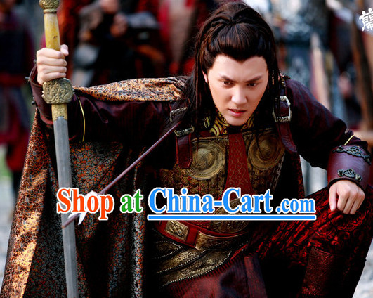 Chinese General Armor Costume and Mantle for Men