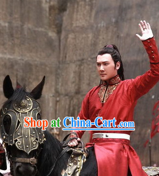 Chinese Costume Period of the Northern and Southern Dynasties Lanling Wang Red General Clothes for Men
