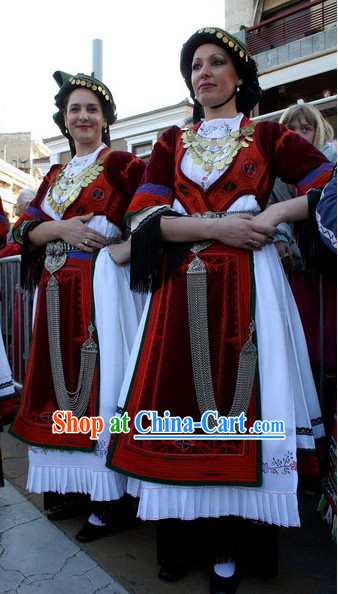 Traditional Greek Clothing and Hat Complete Set for Girls