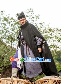 Chinese Ancient Swordman Mantle, Costume and Hat Complete Set