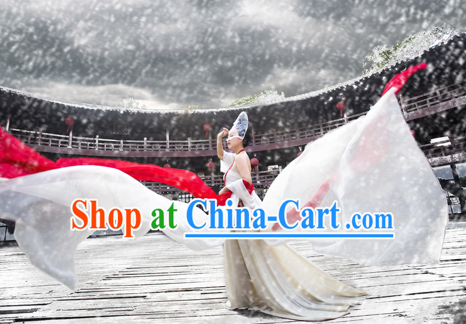 Chinese Classical Fairy Dance Costumes and Hair Ornaments Complete Set