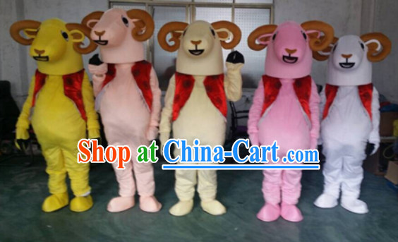 Chinese New Year Happy Sheep Mascot Costumes Complete Set