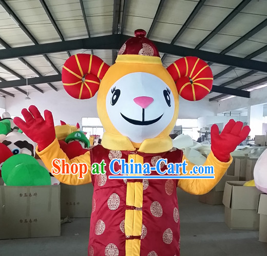Chinese New Year Laughing Sheep Goat Mascot Costumes Complete Set