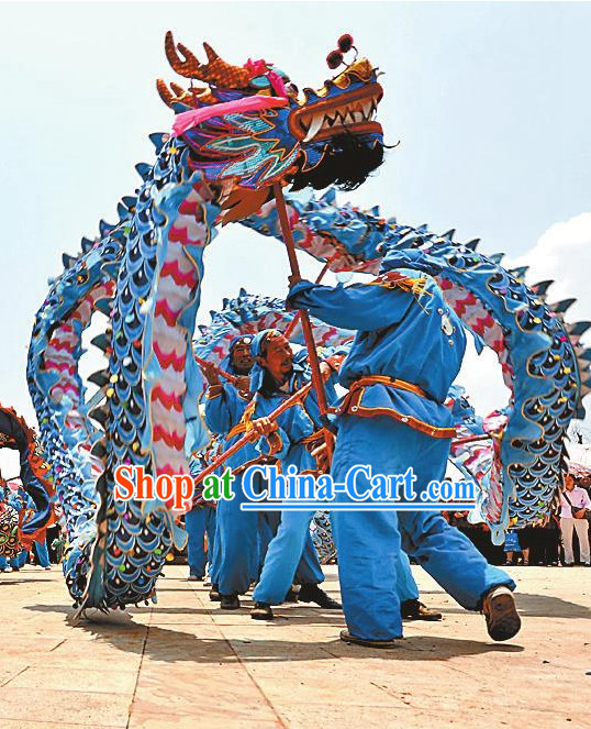 Blue Fluroescent Dragon Dance Equipment Complete Set