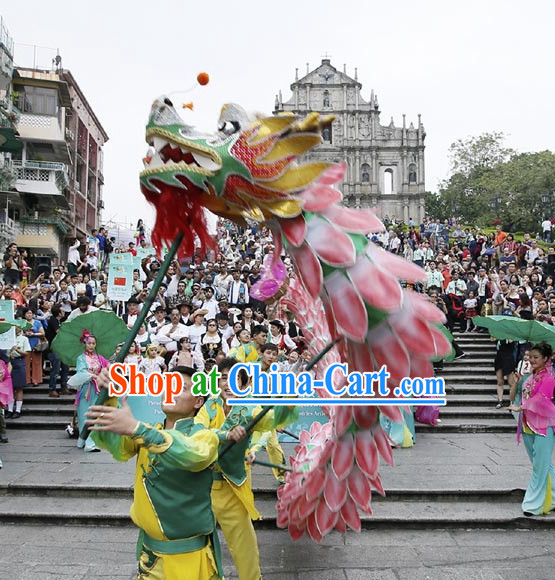 Shanghai Handmade Lotus Flower Dragon Dance Equipment Complete Set