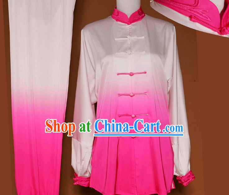 Traditional Color Transition Silk Kung Fu Costume