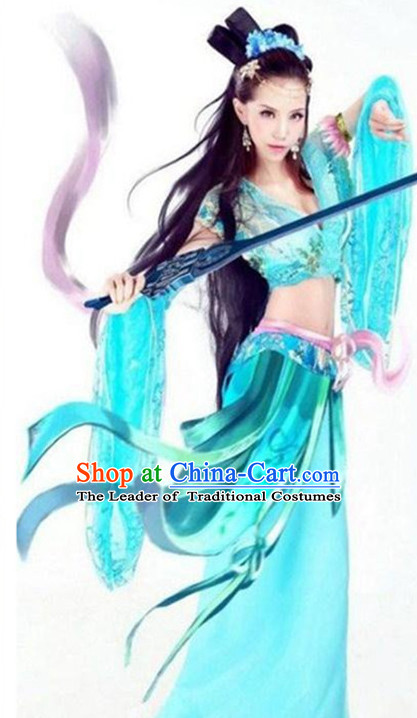 Ancient Chinese Superhero Female Costume and Hairpieces Complete Set for Women