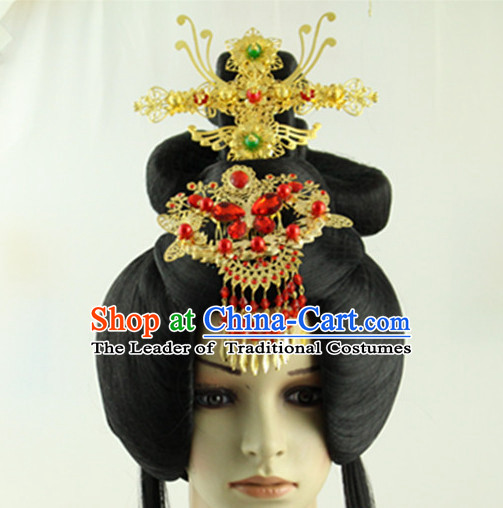Ancient Chinese Princess Long Black Wigs and Handmade Hair Jewelry