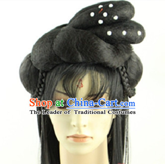 Ancient Chinese Fairy Long Black Wigs Headpieces