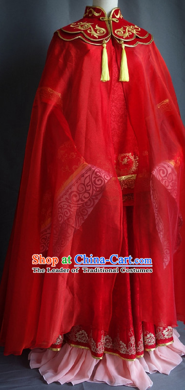 Chinese Red Mantle Halloween Costumes Fairy Empress Queen Princess Costume Complete Set