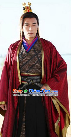 Ancient Chinese Emperor Long Robe and Crown Complete Set for Men