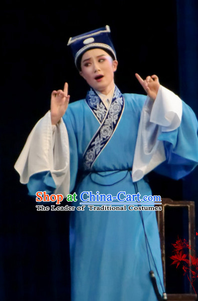 Chinese Opera Peking Opera Cantonese Opera Young Scholar Costumes and Hat Complete Set