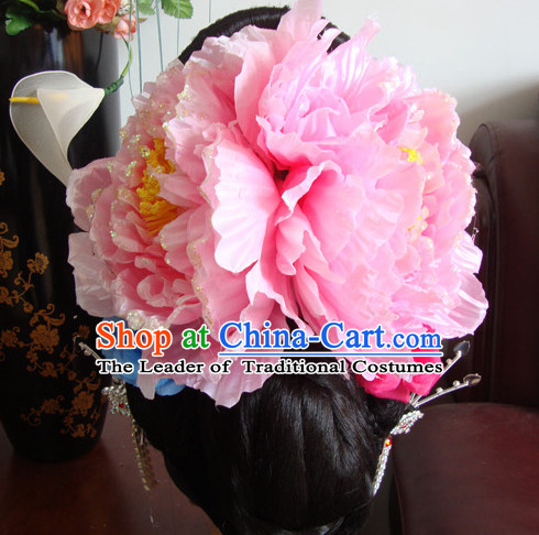 50a09ba9a Ancient Chinese Stage Hua Dan Black Long Wigs and Hair Accessories