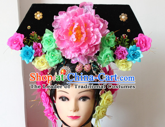 Chinese Qing Princess Phoenix Hairstyles Long Black Wigs Fascinators Fascinator Wholesale Jewelry Hair Pieces