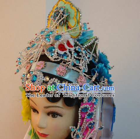 Chinese Opera Nun Hairstyles Long Black Wigs Fascinators Fascinator Wholesale Jewelry Hair Pieces
