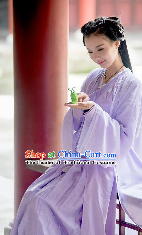 Chinese Ancient Purple Female Costumes Garment