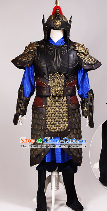 Ancient Chinese Knight Armor Costumes and Helmet Complete Set for Men