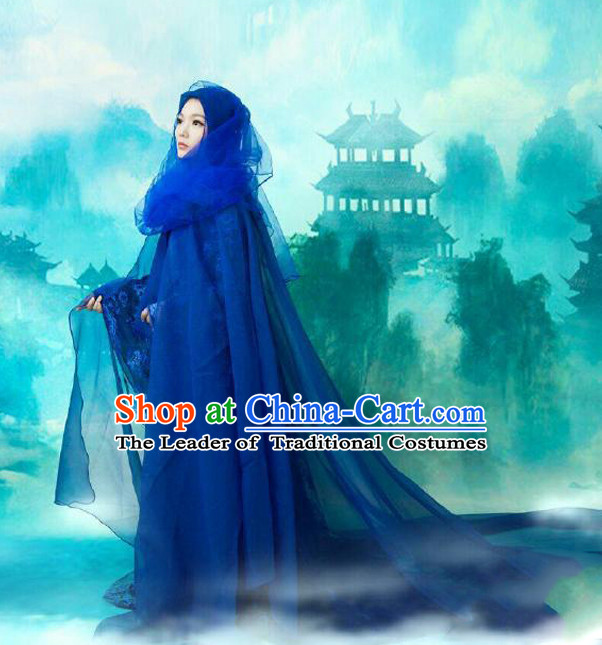 Chinese Ancient Mysterious Lady Blue Mantle Style Costumes