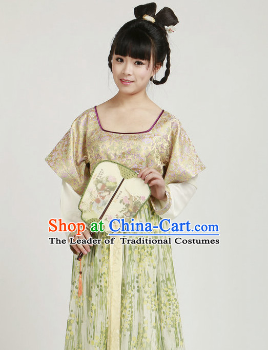 Chinese Ancient Tang Dynasty Girl Costumes and Hair Jewelry