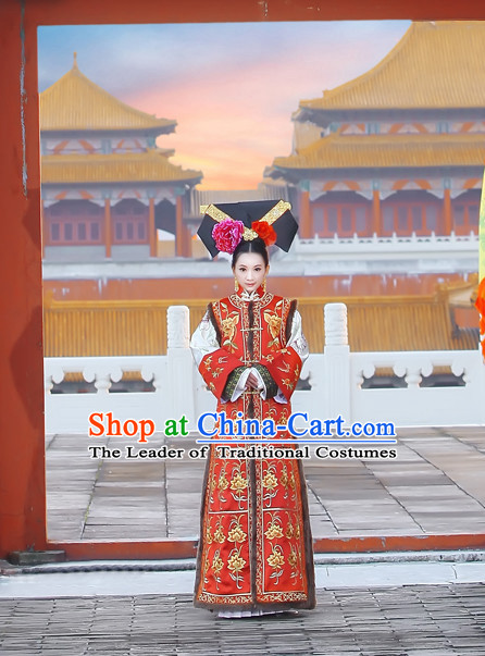 Asian Chinese Qing Dynasty Princess Clothing and Headpieces Complete Set