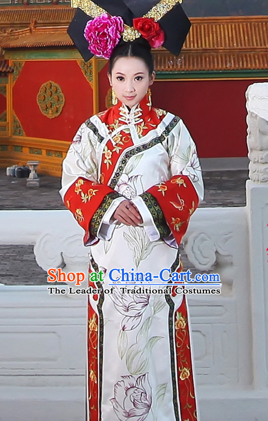 Asian Chinese Qing Dynasty Princess Queen Clothing and Headpieces Halloween Costume Complete Set
