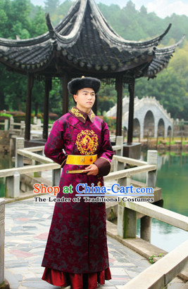 Asian Chinese Qing Dynasty Prince Long Robe and Hat Complete Set