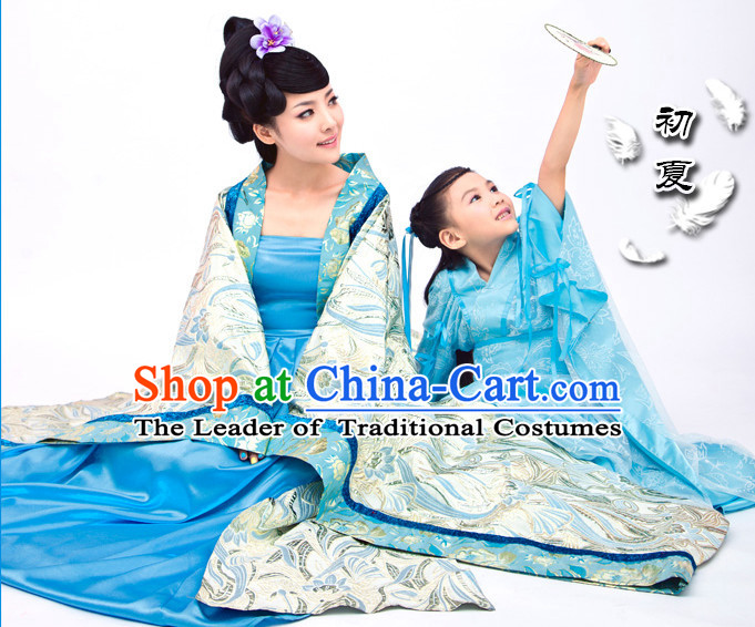 Asian Chinese Mother Daughter Hanfu Costumes and Hair Accessories Complete Set