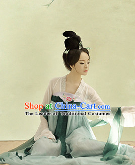 Asian Chinese Tang Dynasty Girls Hanfu Costumes and Hair Accessories Complete Set