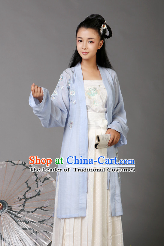 Ancient Chinese Song Dynasty Female Hanfu Costumes Clothes and Hair Jewelry Complete Set for Women