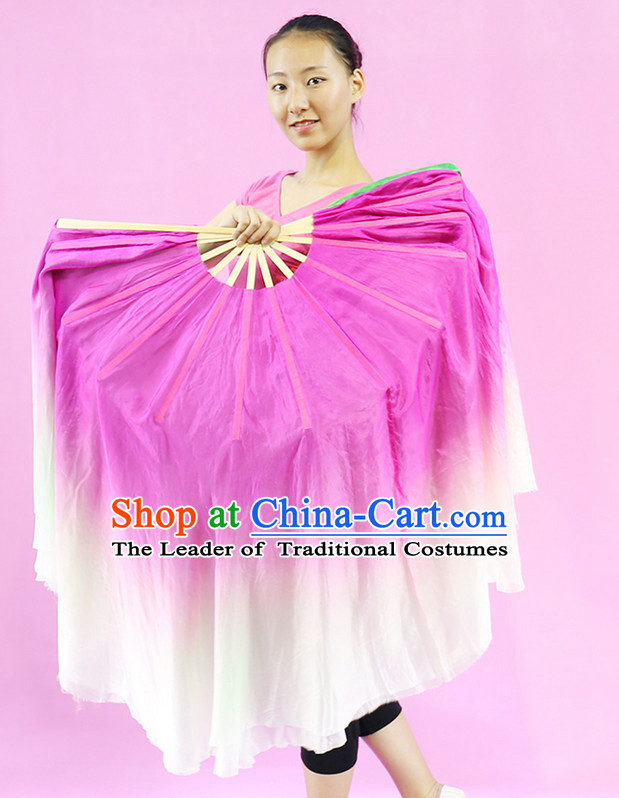 Pink to White Color Transition Silk Dance Fan