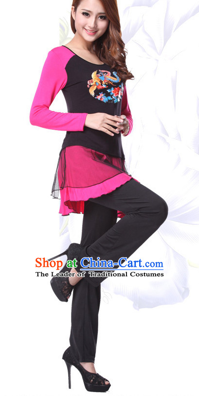 Asia Chinese Festival Parade Folk Dance Costume School Uniforms Leotards Gym Uniform for Women